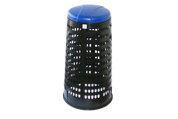 Plastový krytý stojan na pytle - modré víko