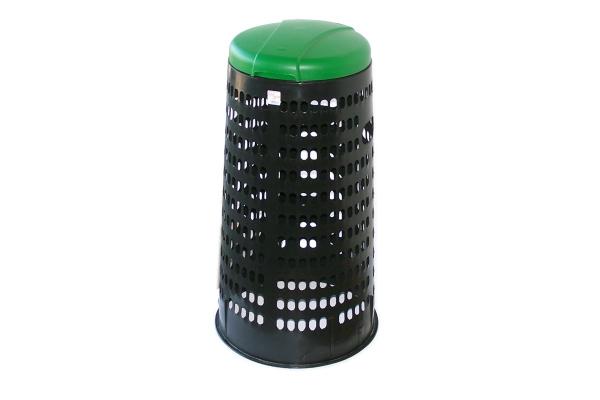 Plastový krytý stojan na pytle - zelené víko