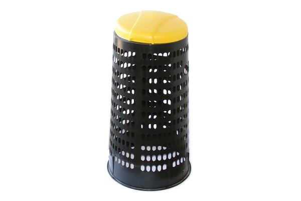 Plastový krytý stojan na pytle - žluté víko