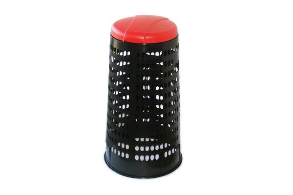 Plastový krytý stojan na pytle - červené víko